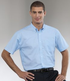 Russell Collection da uomo a maniche corte, di facile manutenzione Oxford camicia Oxford Blue 44
