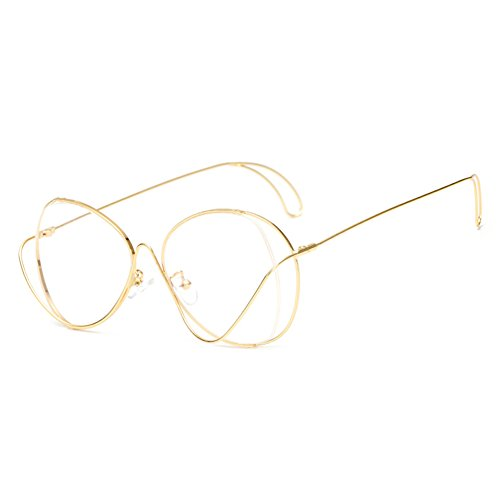 Hibote Männer Frauen Aviator Brille - Klare Linse Brillengestell - Mode Brillen 122911