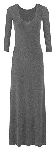 Neue Frauen Plus Size Plain Lange Jersey Scoop Neck Maxikleid 36-54 Charcoal