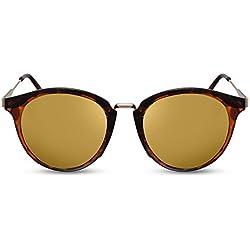 Cheapass Gafas de sol Redondas Marrones Montura Metálica Doradas Lentes Espejadas UV400 Vintage Diseñador Gafas Mujeres Hombres
