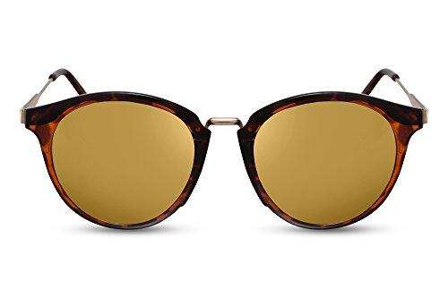 Cheapass Rund-e Sonnenbrille Braun Gold Verspigelt-e Linsen UV-400 Lichtschutz Vintage Retro Metall-Rahmen Damen Herren