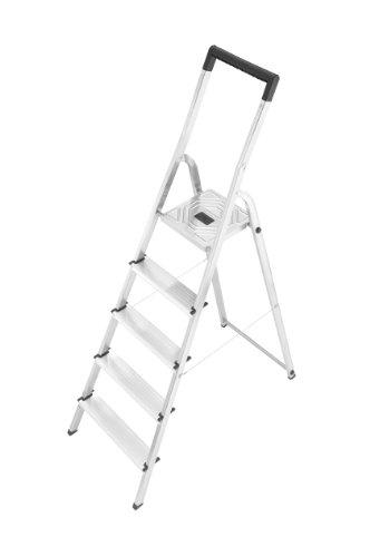 Hailo 8945-001 Alu-Sicherheits-Haushaltsleiter L40 - 5 Stufen mit SicherheitsBügel