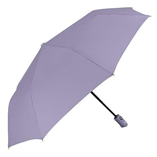 Paraguas para Mujer con Strass - Paraguas Compacto y a Prueba de Viento con Tratamiento de Teflón - Apertura Automática - Diámetro 98 cm - Tecnología Perletti (Lilla)