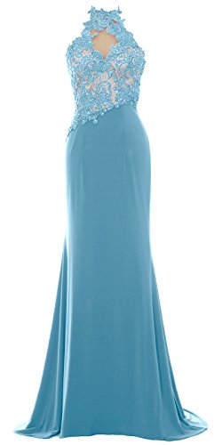 MACloth Women Mermaid Halter Lace Long Formal Evening Dress Wedding Party Gown Turquoise