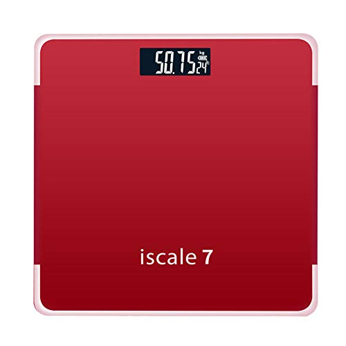 jEZmiSy Digitale Personenwaagen, 180kg Präzise Elektronische Waage für gehobenes gehärtetes Bad im Badezimmer, Fördern Sie EIN gesundes Leben und halten Sie Sich fit Red