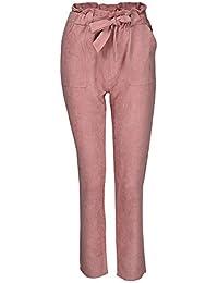 82b2424605 BaZhaHei Mujer Flacas Pantalones Vaqueros a Rayas a Rayas Corbata Cintura  Alta Damas pantalón pantalón Skinny Women Striped Long…