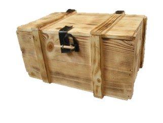 6er Holzkiste / Weinkiste / Kiste / Box / Weinverpackung aus Holz geflammt mit Klappdeckel, Kunstlederscharnier, inklusive Holzwolle