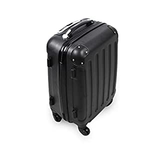 Todeco - Hand Carry Suitcase, Cabin Luggage - Size (Wheels Included): 56x38x22cm (22x15x8.6inch) - Inner Size: 49 x 35 x 21 cm (19.3 x 13.8 x 8.3 inch) - 20 inch (51cm), Black, ABS, Protected Corners