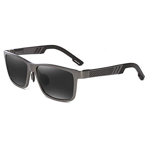 BlueAurora Herren Polarized Sports Sonnenbrille mit Aluminiumlegierungsrahmen,Black