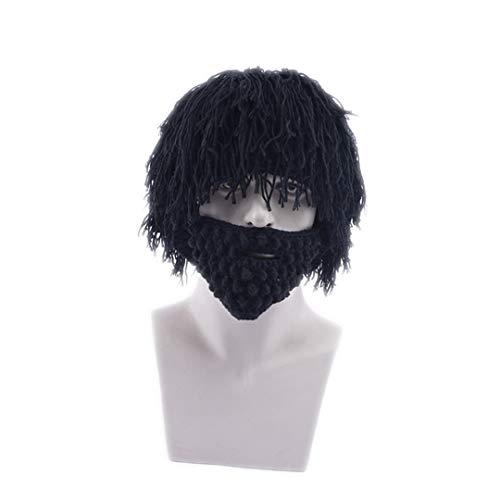 Kostüm Weibliche Mad Men - Perücke Bart Hüte Mad Caveman Handmade Knit Warm Winter Caps Männer Frauen Lustige Party Beanies Black Adults