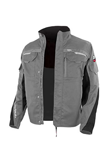 Grizzlyskin Arbeitsjacke Iron - Unisex Workwear für Damen & Herren, Cordura-Schutzjacke mit vielen Taschen, Outdoor Jacke mit Reflexbiesen, Farbe: Grau/Schwarz, Größe: L (50/52)