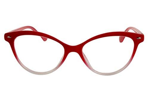 Designer Lesebrillen Damen leuchtend rot weißer Farbverlauf cat eye Katzendesign Katzenauge glänzend mit Brillenetui Lesehilfen Sehhilfen 1.0 1.5 2.0 2.5 3.0 3.5, Dioptrien:Dioptrien 2.5