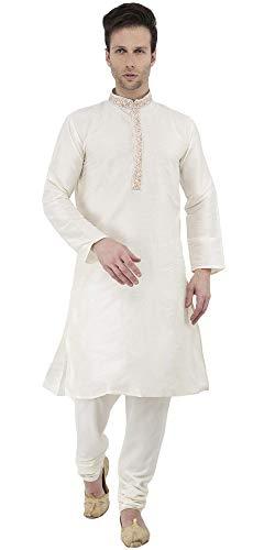 SKAVIJ Herren Tunika Kurta Pyjama Party Tragen Kleid (Nicht-gerade Weiss, Medium) (Indische Kostüm Männer)