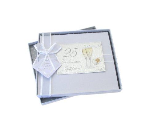 White Cotton Cards Gästebuch für Silberhochzeit Champagnergläser-Motiv