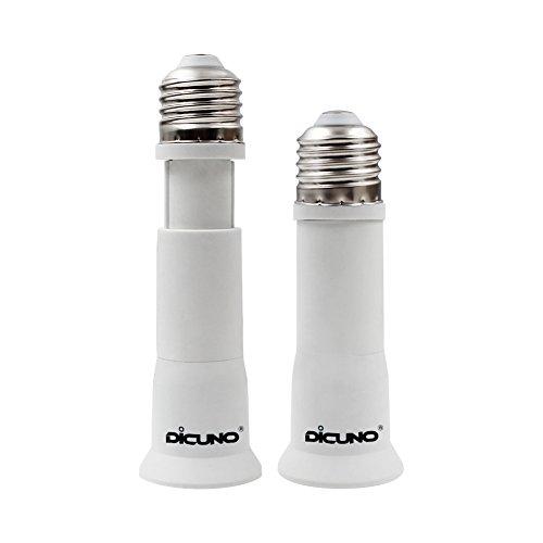 DiCUNO E27 10CM-13CM Einstellbare Verlängerung Lampenfassung Konverter, Flexible Medium Lampensockel Adapter,E27 auf E27 Sockel, 2 Packs -