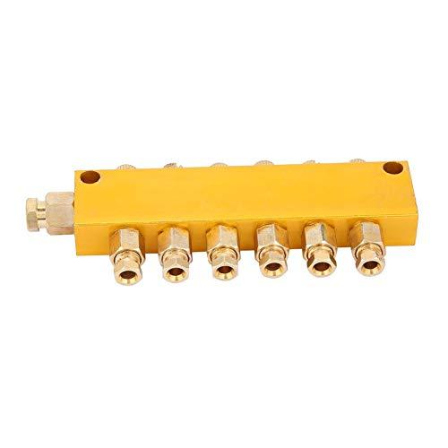 Ölverteilerventil Einstellbares Messing-Wert-Verteilerblock Fertigungsstraßen und Werkzeugmaschinen Schmiedemaschinen Druckgießmaschinen Holzbearbeitungsmaschinen(1 inlet 7 outlet)