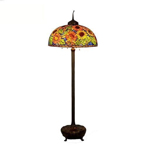Tiffany Stehlampe Kupfer (26-Zoll-Tiffany-Stil Stehlampe (74 Zoll Hoch Glasmalerei Schatten Boden Standleuchten) 6 Licht Voll Kupfer Basis Für Schlafzimmer Wohnzimmer Lesen Beleuchtung Tisch Set (Zugkette) (Farbe : 220v))