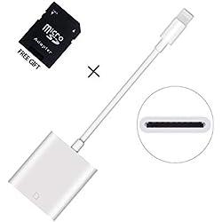 WamGra Lecteur de Carte SD Adaptateur, Caméra Card Reader Viewer Compatible avec (IOS 9.2 ou plus) phone 5/5 s/6/6 s/6 Plus/7/7 Plus/Pad Mini/Air -Aucune App Requise
