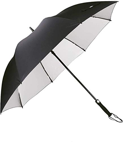 G4free - ombrello da golf 157,5cm, copertura argentata di grandi dimensioni, antivento e impermeabile, apertura automatica, per proteggere dal sole, per uomini e donne, black