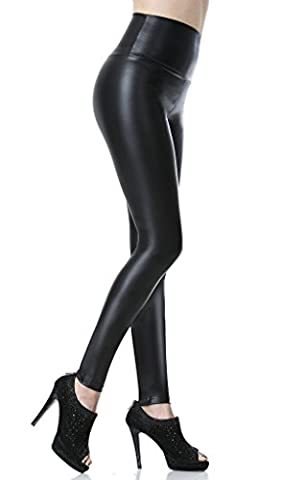 Everbellus Leggings Simili Cuir Taille Haute Sexy Femme Pantalon (Noir, Large/EU38)