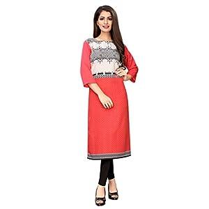 1 Stop Fashion Women's Peach Colour Crepe Digital Print Knee Long W Style Kurta/Kurti