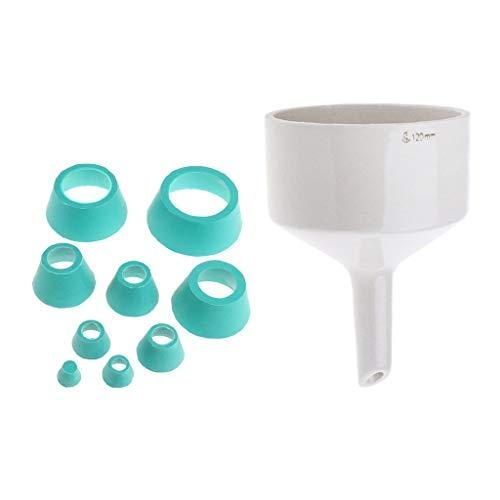 gazechimp 9x Filter Adapter Kegel Gummi Stopper & Porzellan Buchner Trichter Labware Kegel-stopper