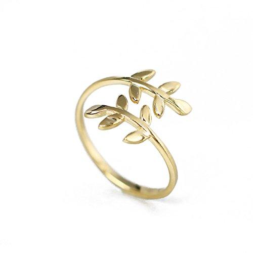 Schmuck Frauen Zubehör (Ring Natur Baum Blatt Verstellbare Open Ring Mode Zink Legierung Finger Ring Zubehör für Frauen Lady Girl)