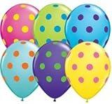 Luftballons Polka Dots Luftballons Punkte Qualatex, 30 cm Durchmesser, 10 Stück