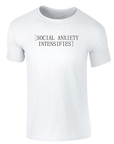 Brand88 - Social Anxiety Intensifies, Erwachsene Gedrucktes T-Shirt Weiß/Schwarz