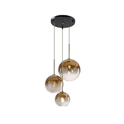 Gold-runde Glas-esstisch (Pendelleuchte Modern Design Runde Hängeleuchte Esstisch Farbverlauf Glas-kugel Lampenschirm in Champagner Gold, E27 Wohnzimmer Kronleuchter, Ø35CM 3-flammig)