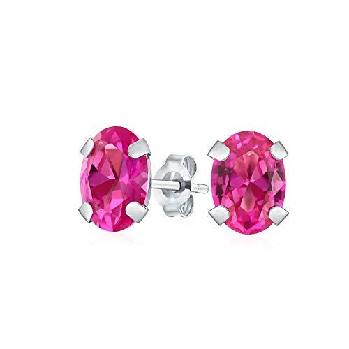1.6CT A Forma Ovale Di Colore Rosa Tormalina Gemma Orecchini A Lobo Per Donne Real 14K Oro Bianco Ottobre Birthstone
