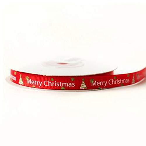 Wansan Christmas Silk Ribbon 22 Meter Bedruckte Frohe Weihnachten Ribbon für Dekoration Geschenkpapier - Gold Brief (Weihnachts-geschenkband)