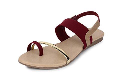 Myra Women's Back Strap Maroon Sandals-5 (MS765C2S5)