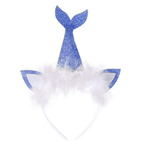 Amosfun LED im Dunkeln leuchten Glitter Meerjungfrau Schwanz Katzenohren Stirnband Tiara Haarband mit Federn Meerjungfrau Kostüm Meerjungfrau unter dem Motto Birthday Party Favors Geschenke (blau)
