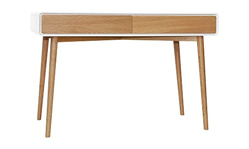 Retro Oak and White 2 Drawer Console Hall Table Study Desk Special