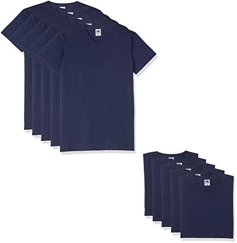 2xl T-shirt (Fruit of the Loom 10 T Shirts V-Neck M L XL XXL V-Ausschnitt Diverse Farben Auswählbar (2XL, Navy))