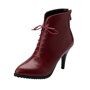 showsing Chaussures pour Femmes rétro Bottes Zipper Talon Haut Chaussures à Lacets Stiletto Bottines par showsing