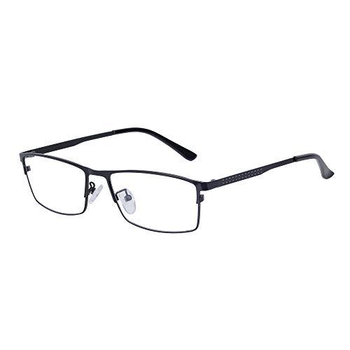 JoXiGo Computerbrille Blaulichtfilter Ohne Stärke für Herren Metall Rechteckig Rahmen Dekogläser Brillenfassungen Auswechselbar Klare Linsen mit Brillenetuis
