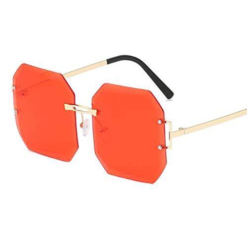 AAMOUSE Sonnenbrillen Sonnenbrillen Cuadraure Übergroß mit GlasrahmenGelb Rot Sonnenbrillen für Damen Herren