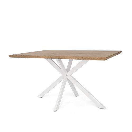 Tuoni argo tavolo, legno multistrato, rovere naturale/metallo laccato bianco, 140x80x75 cm