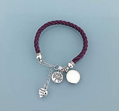 Bracelet phosphorescent prune avec pendentif arbre de vie, bijoux, bracelet fluorescent, bijoux cadeaux, cadeau ado fille, bracelet chance