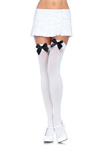 LEG AVENUE 6255 - Blickdichte Nylon Overknee Mit Satin Schleife, Einheitsgröße (EUR 36-40), weiß/schwarz, Damen Karneval Kostüm Fasching