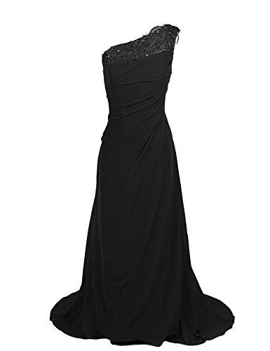 Dresstells Damen Kleider Lang Chiffon Abendkleider Ballkleider Ein-Träger Schwarz