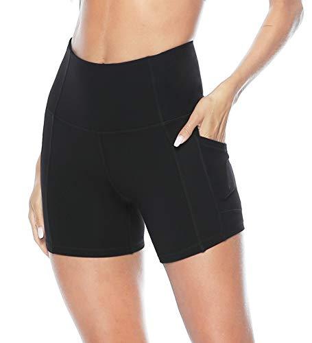 Persit Sporthose Damen Radlerhose - Sport Kurz Leggins Yogahose Yoga Leggings Laufhose Schwarz-L
