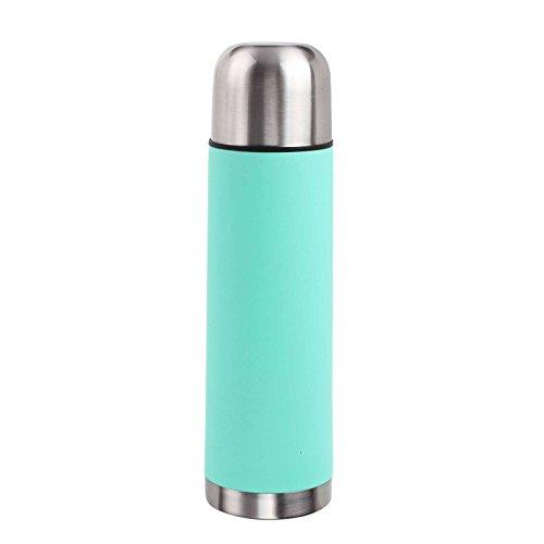 Edelstahl Thermoskanne 500 ml Inhalt mit Trinkbecher Isolierflasche Thermosflasche (Kleine Isolierkanne, Camping, Reise oder Büro, Coffe-To-Go, Türkis)
