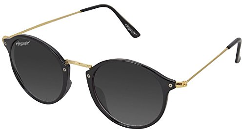 Elegante Golden Frame Black Unisex Oval Sunglass (Model : elt-15001/N)