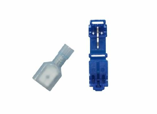 JT&T Products (2122H) - Four Sets of 16-14 AWG T-Tap Splice Connectors & 16-14 AWG .250 Tab, Fully Insulated Nylon Male Disconnect Terminals, Blue, 8 Pcs. by JT&T Products