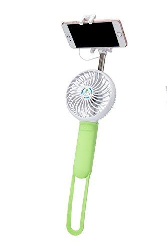 FMS Mini Ventilatore Portatile Ventilatore Handheld, raffreddamento ventilator, ventilatori elettrici personali per casa e in viaggio (Ventilatore+Selfie Stick, Verde)