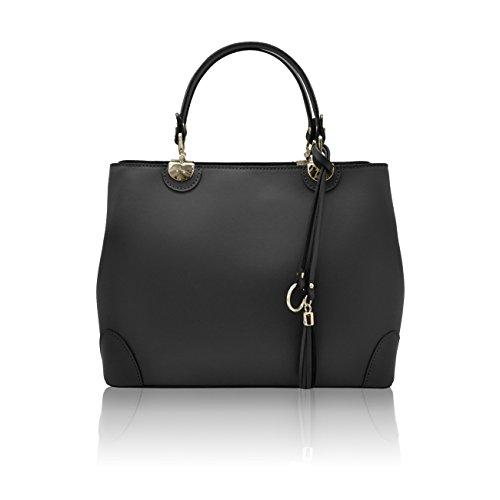 CRISTINA Sacs portés main sac à bandoulière avec pendentif avec franges en cuir lisse, fabriqué en Italie noir