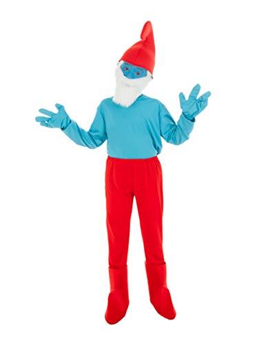 Generique - Die Schlümpfe-Papa Schlumpf Kostüm für Kinder blau-rot 116 (5-6 Jahre)